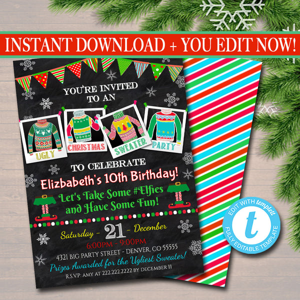 Ugly Sweater Party Invitation, Christmas Party Invitation Holiday Birthday Invite Kids Christmas Party, Holiday Ugly Sweater Invite