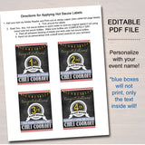 EDITABLE Chili Cookoff Hot Sauce AWARDS, Family Picnic, Holiday BBQ Printable Chili Label Prizes, Potluck Company Party, Fundraising Event