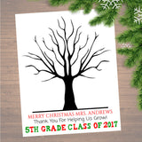 Teacher Gift CUSTOM Printable Class Xmas Thumbprint Art Teacher Thumbprint Tree Poster, Christmas Gift, Holiday Teacher Class Gifts