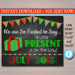 Christmas Pregnancy Announcement, Printable Chalkboard Photo Prop, Xmas Pregancy Reveal, A little Present is On the Way, Holiday Pregnancy