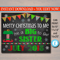 Christmas Big Sister Pregnancy Announcement, Printable Chalkboard Photo Prop, Xmas Pregancy Reveal, Merry Christmas To Me Sibling Xmas Sign