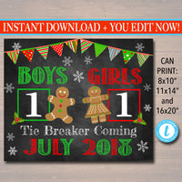 Christmas Tie Breaker Pregnancy Announcement, Printable Chalkboard Photo Prop, Xmas Pregancy Reveal, Merry Christmas To Me Sibling Xmas Sign