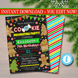 EDITABLE Christmas Cookie Decorating Party Invitation, Christmas Party Invite Holiday Birthday Invite Kids Xmas, Holiday Ugly Sweater Invite