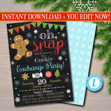 Christmas Cookie Exchange Invitation, Cookie Swap, Christmas Cookie Decorating Party Invitation, Christmas Oh Snap Holiday Invite