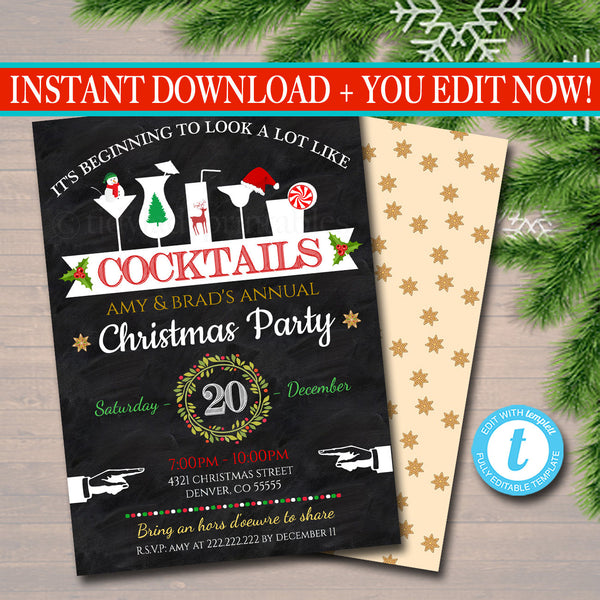 Xmas Cocktail Party Invitation, Christmas Party Invite, Holiday Company Party Invite, It's Beginning to Look a Lot like Cocktails!