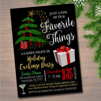 Favorite Things Exchange Party Invitation, Bridal Shower Invite, Teacher Party Holiday Invite, Dirta Santa Party