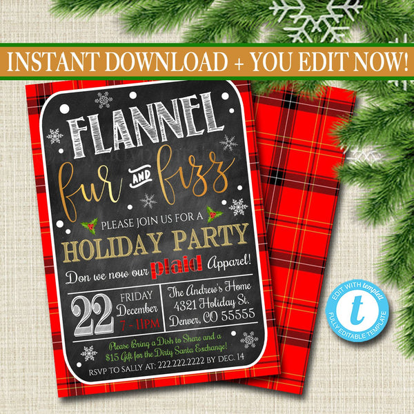 EDITABLE Flannel Fur & Fizz Xmas Party Invitation, Christmas Party Invite, Holiday Cocktail Party Digital Plaid Invitation, INSTANT DOWNLOAD