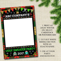 EDITABLE Ugly Sweater Photo Booth Prop, Selfie Station Grab a Prop Christmas Decor, Printable Art INSTANT DOWNLOAD Xmas Ugly Sweater Party