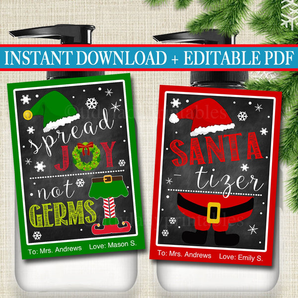 EDITABLE Christmas Soap Tags, Printable Holiday Soap Labels, Xmas Teacher Gift, Hand Santa-tizer, Spread Joy Not Germs Elf INSTANT DOWNLOAD
