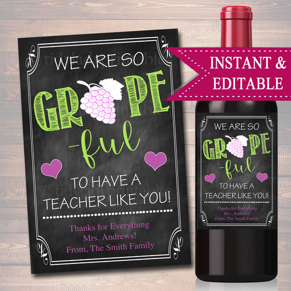 EDITABLE Teacher Gift, End of School Year Wine Label INSTANT DOWNLOAD, Printable Teacher Appreciation, Teacher Wine Label, Christmas Gift