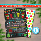 Gender Reveal Party Invitation, Christmas Invite, Holiday Baby Shower, What the Elf is it Going to Be, Santa Baby,