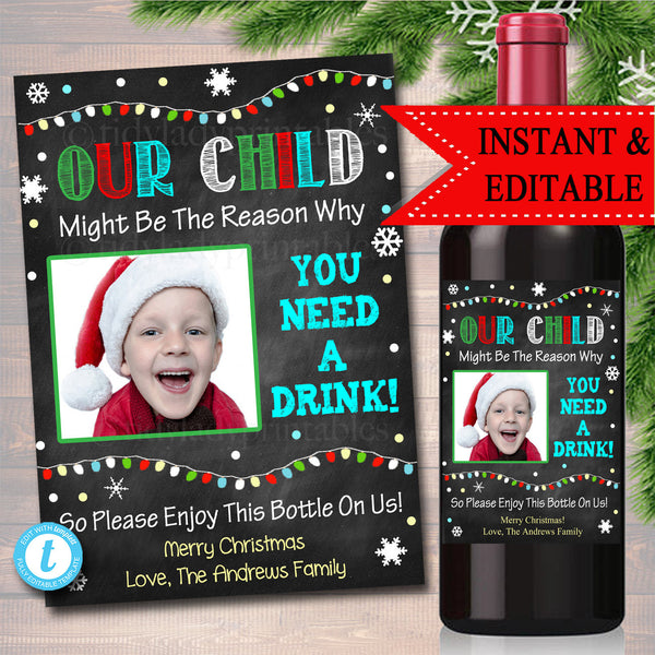 EDITABLE Christmas Teacher Gift End of School Year Wine Label INSTANT DOWNLOAD, Teacher Appreciation Printable Wine Label, Gift From Student