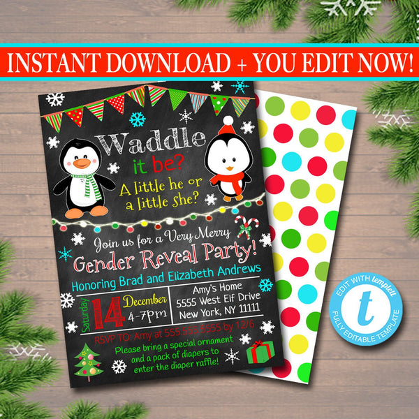 Gender Reveal Party Invitation, Christmas Invite, Holiday Baby Shower, Waddle it Be Penguin Invitation Santa Baby,