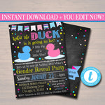EDITABLE Gender Reveal Party Invitation, What the Duck is it going to be He or She, Baby Shower, Team Pink Team Blue Invite INSTANT DOWNLOAD