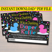 Printable Duck Diaper Raffle Cards Gender Reveal Party, What the Duck is it going to be Baby Shower Decor, Pink or Blue INSTANT DOWNLOAD