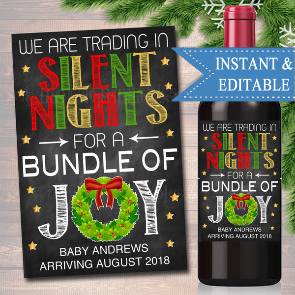 EDITABLE Pregnancy Announcement Wine Label, Christmas Printable Wine Label Holiday Trading Silent Nights For Bundle of Joy, INSTANT DOWNLOAD