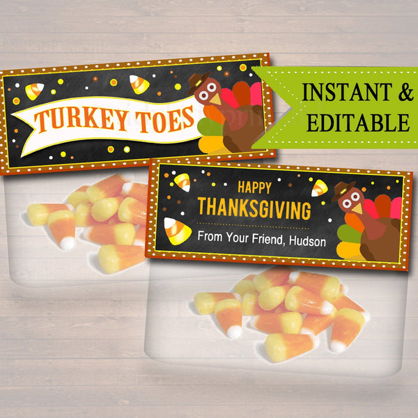 EDITABLE Thanksgiving Treat Bag Toppers, Thanksgiving Favor Tags, Turkey Toes Candy Corn Labels, Printable Kids Labels, INSTANT DOWNLOAD