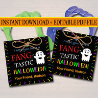 EDITABLE Fang Tags, INSTANT DOWNLOAD, Printable Kids Non-Candy Gift, Hope Your Halloween is Fangtastic, Teacher Classroom Halloween Treats