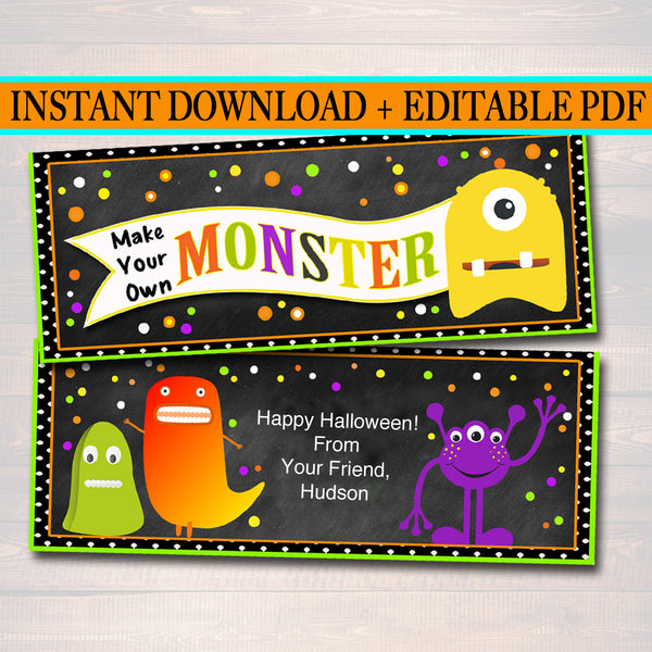 Make Your Own Monster Treat Bag Toppers, Halloween Favor Tags, Monster Party Favor Labels, Printable Trick or Treat, School Kids Halloween