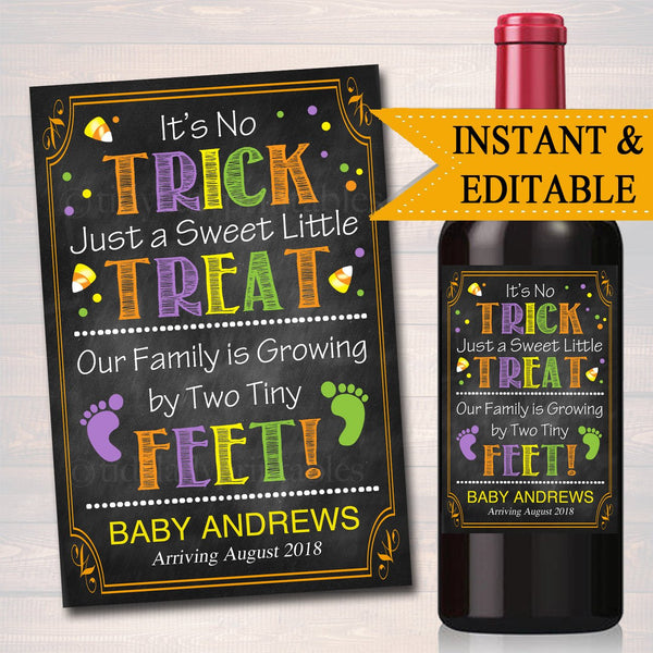 EDITABLE Wine Label Halloween Pregnancy Announcement Printable Chalkboard, Fall Pregancy Reveal, Not a Trick Just a Treat, INSTANT DOWNLOAD