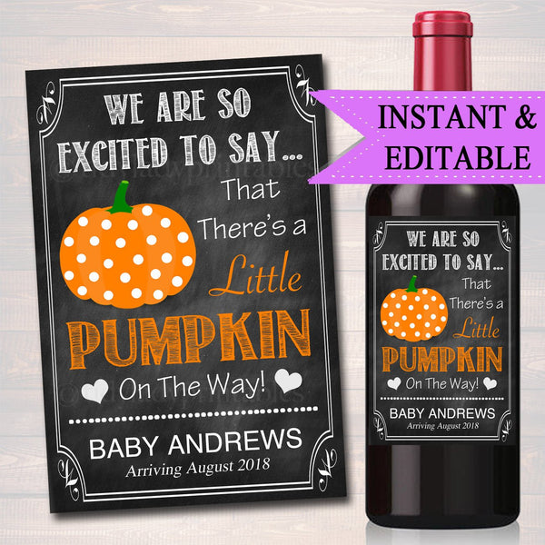 EDITABLE Wine Label Halloween Pregnancy Announcement Printable Chalkboard, Fall Pregancy Reveal, Little Pumpkin on the Way, INSTANT DOWNLOAD