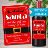 EDITABLE Pregnancy Announcement Wine Label, Christmas Printable Wine Label Holiday Bundle of Joy, Santa Baby Coming Soon INSTANT DOWNLOAD