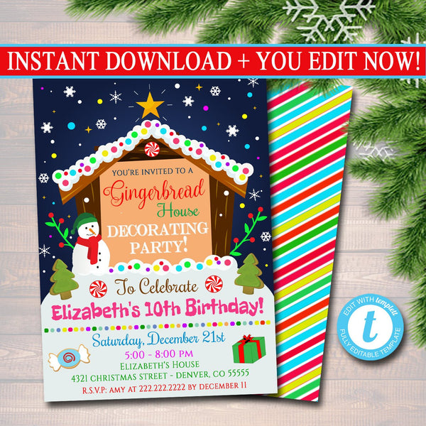 Editable Gingerbread House Decorating Party Invitation Christmas Party Invite Holiday Cookie Birthday Invite Kids Xmas Ugly Sweater Invite