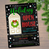 Holiday Open House Party Invitation, Christmas Party Invite, Holiday Cocktail Party  Chalkboard Invitation,