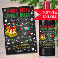 EDITABLE Wine Label Christmas Pregnancy Announcement, Printable Chalkboard Wine Label Holiday Pregancy Reveal, Xmas Present Jingle Bells