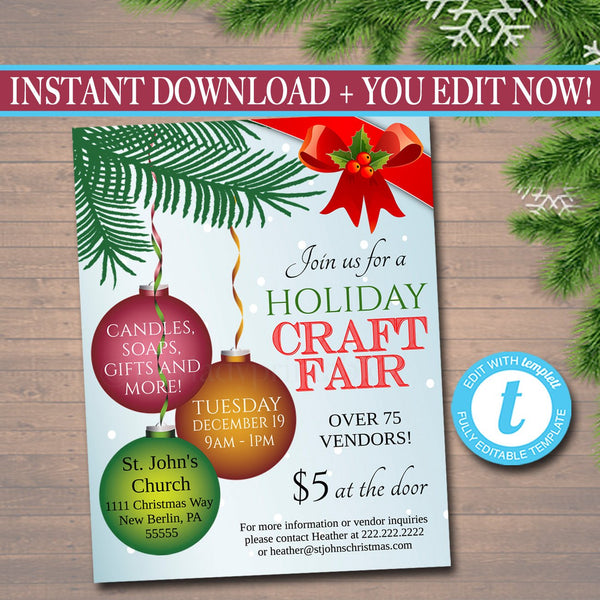 Holiday Craft Fair Flyer, Christmas Craft Show Invitation Christmas Party Invitation Printable Community Holiday Event Church Flyer