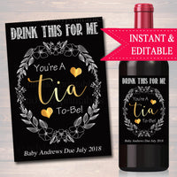 Drink This For Me You're A Tia To Be, Digital Wine Label Pregnancy Announcement, New Aunt Gift, Sister Promoted to Auntie Pregnancy Reveal