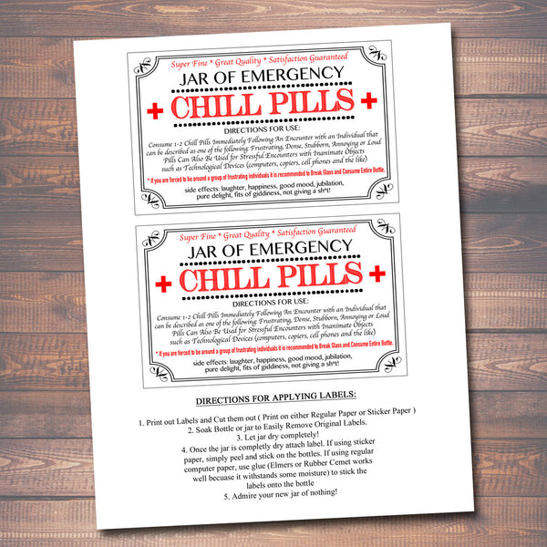 graphic about Chill Pill Printable Label named Chill Tablets Label, Humorous Nurse Gag Present Proficient Workplace