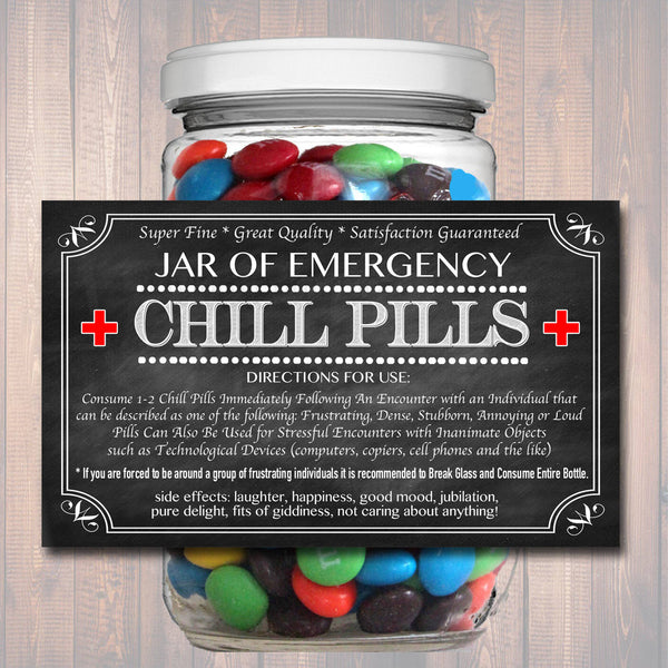 Chill Pills Label, Chalkboard Label Gag Gift Professional Office Gift, Christmas Gift, Birthday Gift, Boss Gift, Cowork Gift Printable Label