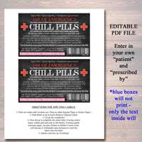 image about Chill Pill Printable Label known as EDITABLE Chill Drugs Label, Humorous Gag Present Knowledgeable