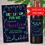 Digital Wine Label Pregnancy Announcement, Drink This For Me You're An Auntie To Be, New Aunt Gift, Sister Promoted, Xmas Pregnancy Reveal