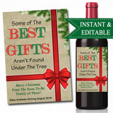 EDITABLE Pregnancy Announcement Wine Label, Christmas Printable Wine Label Holiday Bundle of Joy, Best Gifts Not Under Tree INSTANT DOWNLOAD