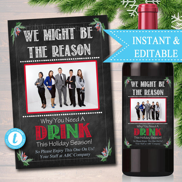EDITABLE Christmas Employer Boss Wine Label INSTANT DOWNLOAD, Secret Santa Coworker Appreciation Printable Wine Label Gift From Office Staff