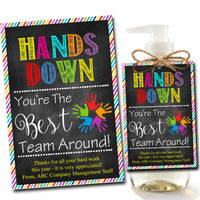 EDITABLE Soap Label Tags, Staff Volunteer Appreciation Gift, INSTANT DOWNLOAD, Printable pta soap label tags, Hands Down Best Team Around