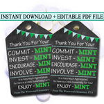 Printable Thank You Tags, Volunteer Mint Labels, Printable, INSTANT + EDITABLE, Thank You Gift, PTA Staff Gift Appreciation Mint Favor Label
