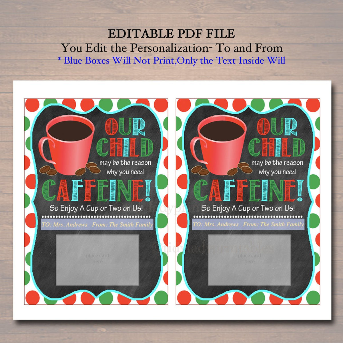 This is a picture of Unusual Thanks a Latte Christmas Printable