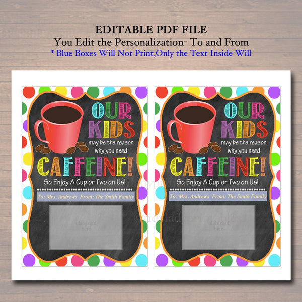 graphic regarding Thanks a Latte Christmas Printable referred to as EDITABLE Espresso Present Card Holder Printable Trainer Babysitter Present Daycare, Xmas Owing a Latte Our Little one Cause Consume Prompt Down load
