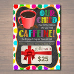 EDITABLE Coffee Gift Card Holder Printable Teacher Babysitter Gift Daycare, Christmas Thanks a Latte Our Child Reason Drink INSTANT DOWNLOAD