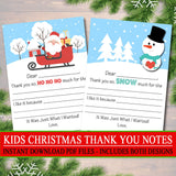 Kid's Christmas Thank You Cards, INSTANT DOWNLOAD, Printable Fill In The Blank Christmas Notes, Xmas Letter Santa, Thank You Snow Much