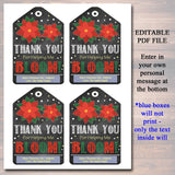 EDITABLE Christmas Gift Tags Thank You For Helping Me Bloom Flower, Holiday Teacher Gift Nanny Daycare Babysitter Gift Xmas INSTANT DOWNLOAD