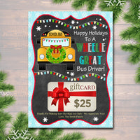 EDITABLE Christmas Bus Driver Gift Card Holder, Printable Holiday Gift Xmas Gift Card, Wheelie Great School Bus Driver, INSTANT DOWNLOAD