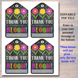 EDITABLE Printable Gift Tags Thank You For Helping Me Bloom, Mother's Day, Teacher Gift Nanny Daycare Babysitter Gift Tags INSTANT DOWNLOAD