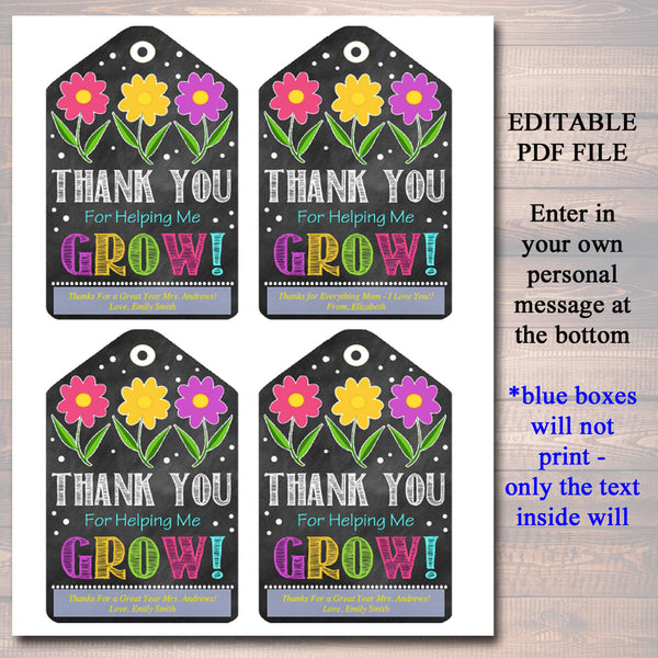 image regarding Thanks for Helping Me Bloom Printable identified as EDITABLE Printable Present Tags Thank By yourself For Encouraging Me Bloom, Moms Working day, Instructor Reward Nanny Daycare Babysitter Reward Tags Fast Down load