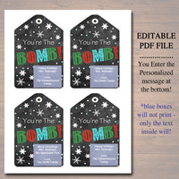 EDITABLE You're The Bomb Christmas Gift Tags, Secret Santa, Staff Teacher Volunteer Gift Holiday Printable, White Elephant INSTANT DOWNLOAD