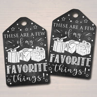 Favorite Things Party Gift Tags, Teacher, Printable Labels, Girl's Xmas Party Ladies Night Bridal Shower, Holiday Favor Tag INSTANT DOWNLOAD