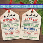 EDITABLE Xmas Mailman Gift Tags, Santa Gift Tags, Holiday Gift Labels Template, Christmas Delivery Postal Worker Gift Label INSTANT DOWNLOAD